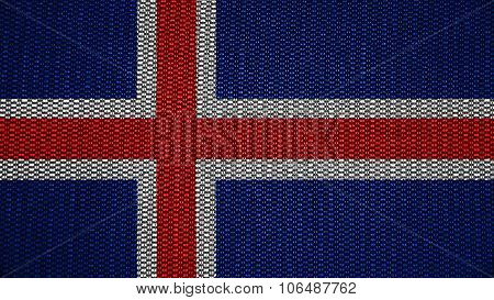Flag of Iceland, Icelandic flag painted on stitch texture