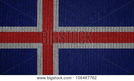 Flag of Iceland, Icelandic flag painted on stitch texture