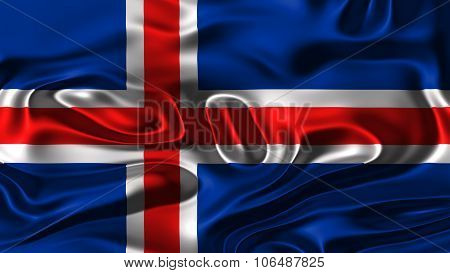 Flag of Iceland, Icelandic flag painted on silk texture