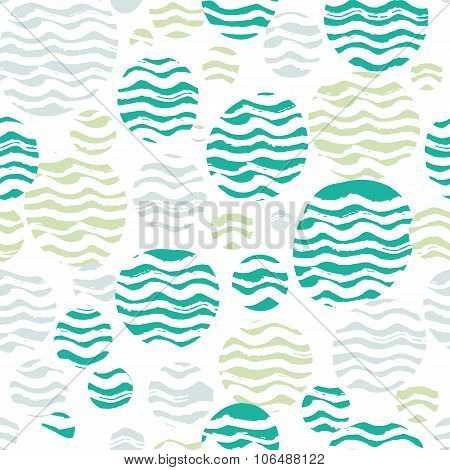 Abstract pastel seamless pattern with white wavy strokes. Green, turquoise and pastel blue colors, s