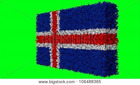 Flag of Iceland, Icelandic flag made from leaves