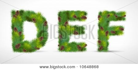 DEF, vector christmas tree font