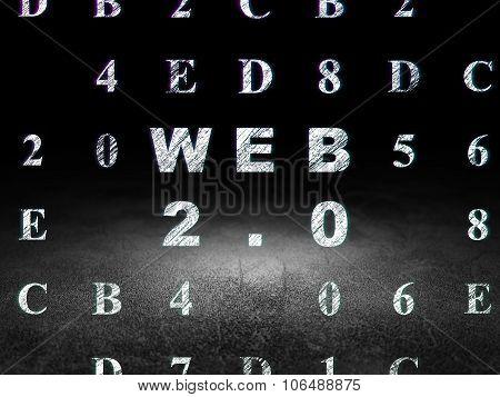Web design concept: Web 2.0 in grunge dark room