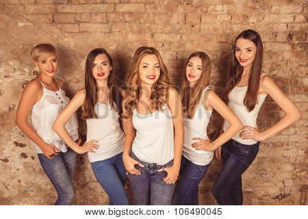 Nice-looking Young Women With Red Lips Wearing A Dress Code