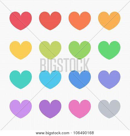 Flat Design Color Hearts
