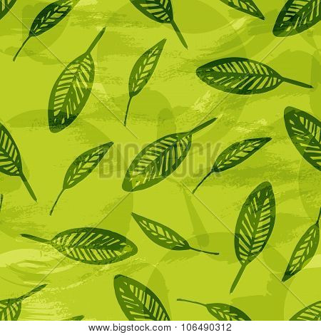 Leaves texture, green natural seamless pattern. Vector background with hand drawn ink leaf, repeated