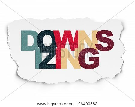 Finance concept: Downsizing on Torn Paper background