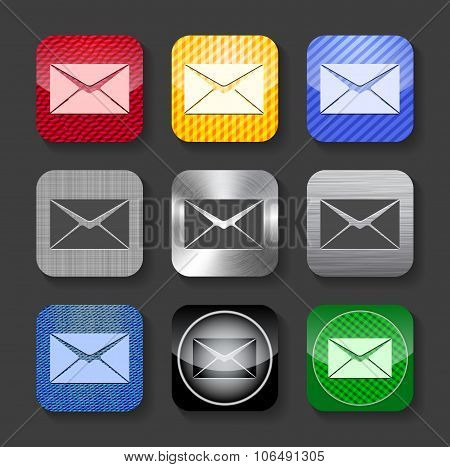 Envelope Sign On Glossy And Metallic Icons