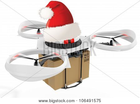 3D Delivery Drone With Red Santa's Hat