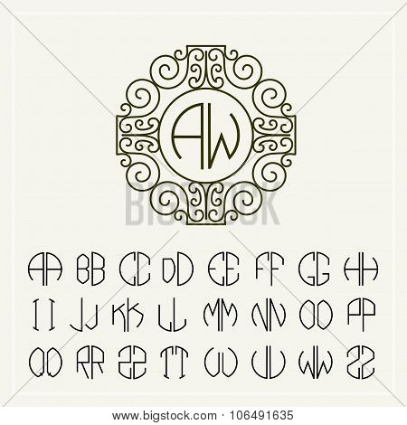 Set of template letters to create monograms of two letters in scribed in a circle in Art Nouveau sty