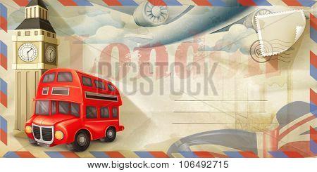 Background travel, London vector postcard