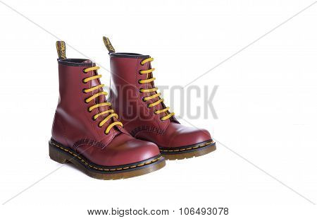 Classic Cherry Red Oxblood Doc Martens Lace-up Boots