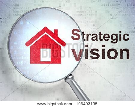 Business concept: Home and Strategic Vision with optical glass