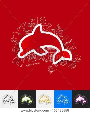 dolphin paper sticker with hand drawn elements