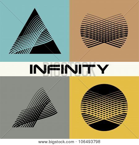 Set of Abstract infinity logo design template. Infinite shape. Flat design.