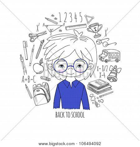 Schoolboy blue color background in a circle vector illu