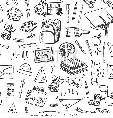 School tools sketch black and white seamless vector pattern.