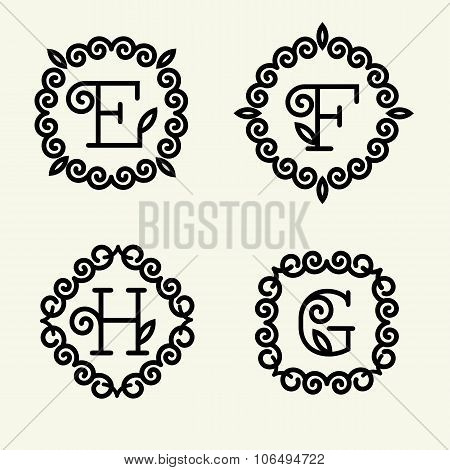 Set of modern monogram style linear with the letters E, F, H, G