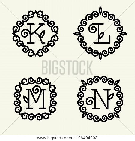 Set of modern monogram style linear with the letters K, L, M, N