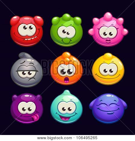 Funny cartoon  jelly round characters set