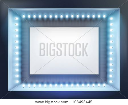 Illuminated shop window. Vector illustration.