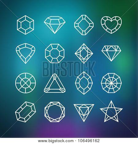 Linear diamond icons set