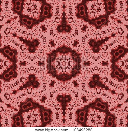 Seamless kaleidoscope ornaments red brown
