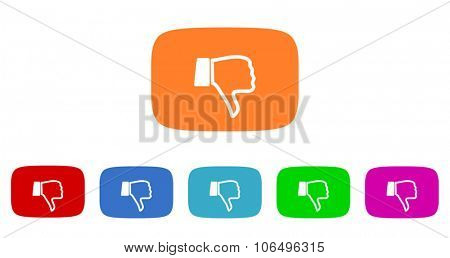dislike flat design modern vector circle icons colorful set for web and mobile app isolated on white background