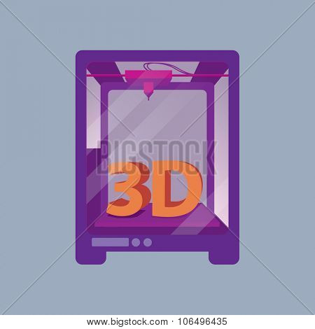3D Printer on a Blue Background