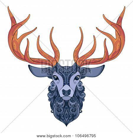 Vector Ornate Deer Horned Head