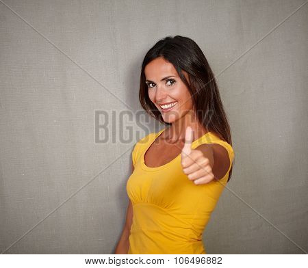 Excited Youngster Congratulating With Ok Sign