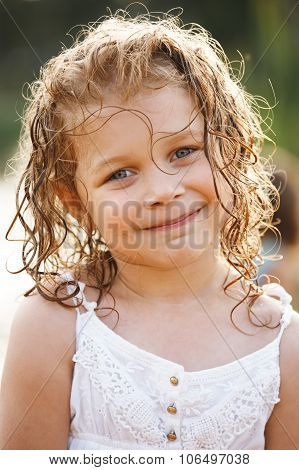Little Happy Girl With Wet Hair