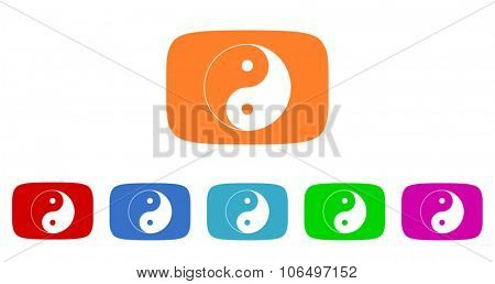 ying yang flat design modern vector circle icons colorful set for web and mobile app isolated on white background