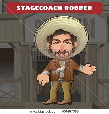 Cartoon character in Wild West - stagecoach robber