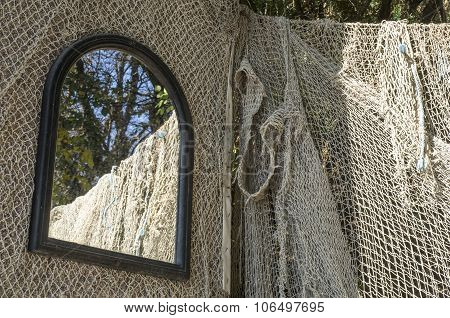 Fishing Nets And Mirror Closeup