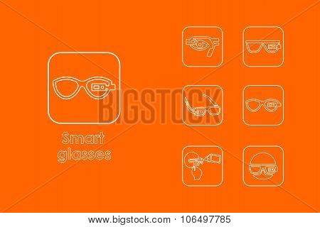 Set of high-tech glasses simple icons