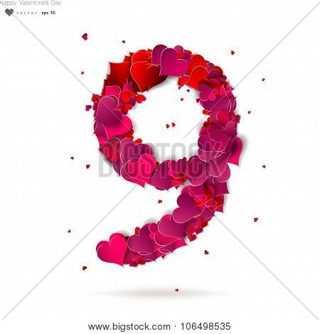 Number nine, 9 made from red hearts Love alphabet
