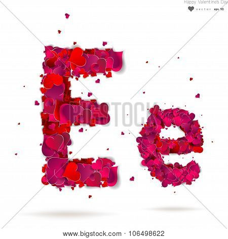Letter E made from hearts. Love alphabet