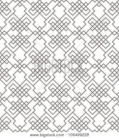 Geometric Abstract Seamless Pattern. Linear Motif Background. Monochrome Decoration Design