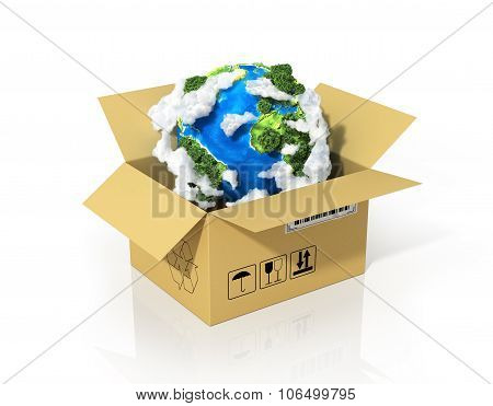 Global Logistics, Shipping And Worldwide Delivery Business Concept. Green Planet Earth In The Cardbo