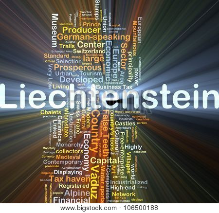 Background concept wordcloud illustration of Liechtenstein glowing light