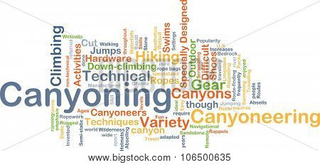 Background concept wordcloud illustration of canyoning