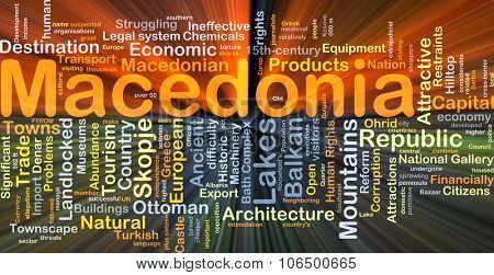 Background concept wordcloud illustration of Macedonia glowing light