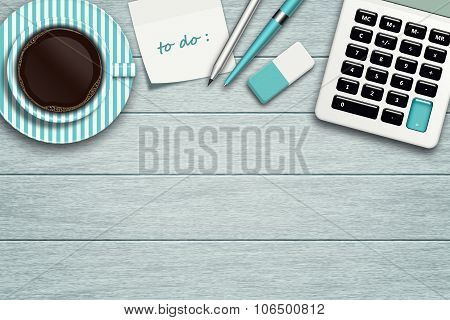 Workspace With Calculator, Stationery, Note And Coffee