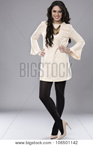 Beautiful Business Woman Brunette Fashion Model Isolated On Gray