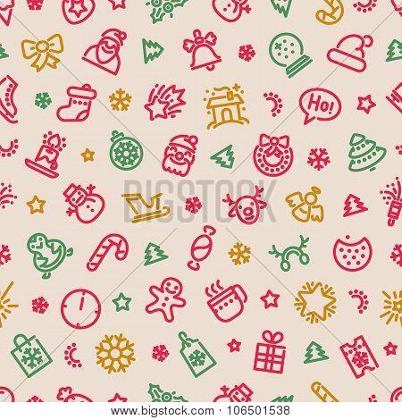 Christmas Symbols Seamless Pattern Colorful
