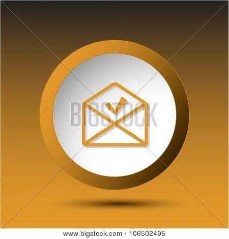 mail ok. Plastic button. Raster illustration.