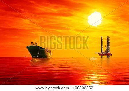 Offshore Oil Area At Sunrise