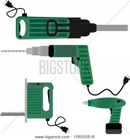 Drill Screwdriver And Hammer Jigsaw