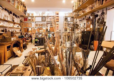 Craftsman's Loft With Artistic Tools, Frames And Paints